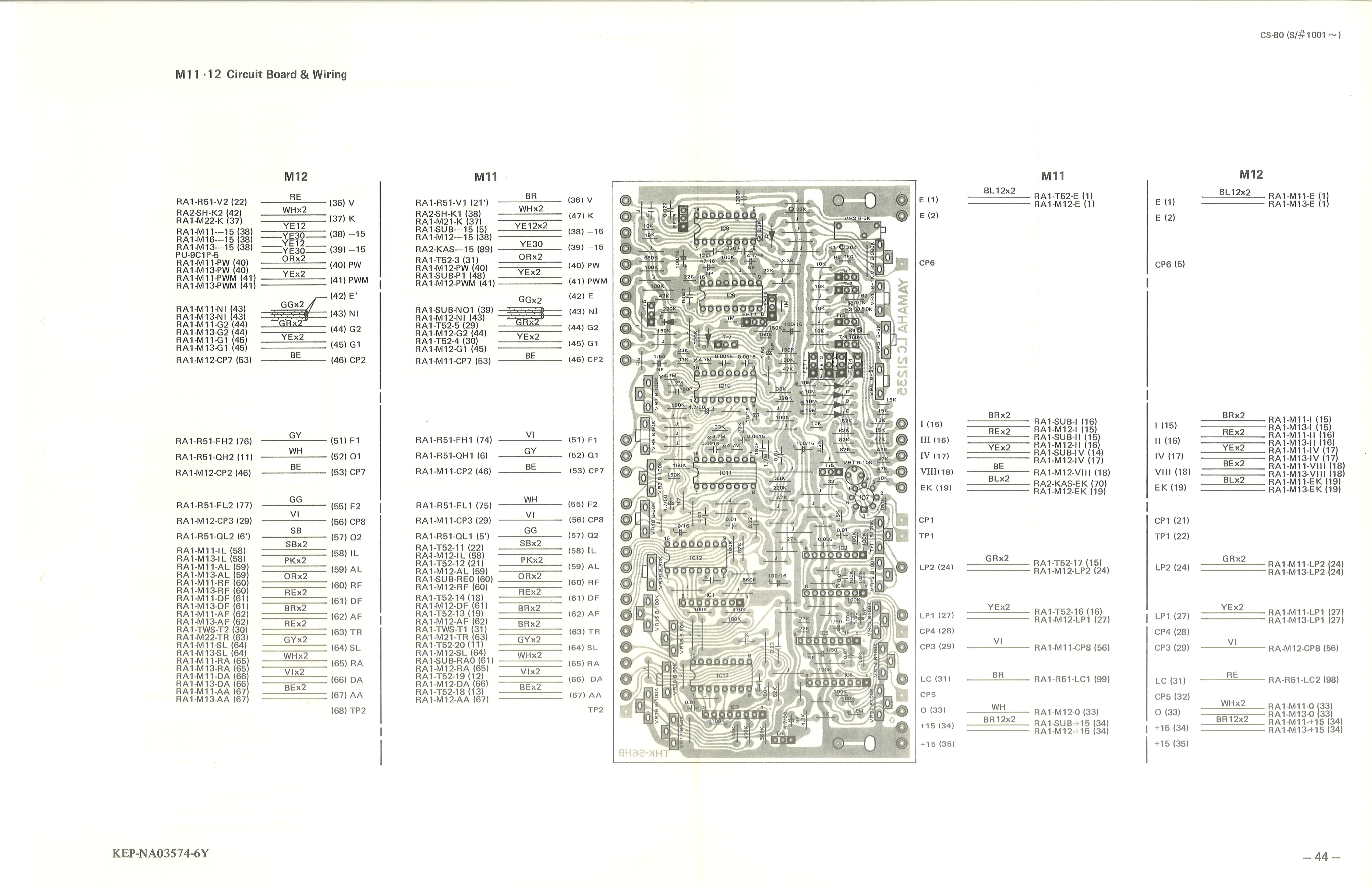yamaha cs 80 service manual 44 m11 12 circuit board wiring