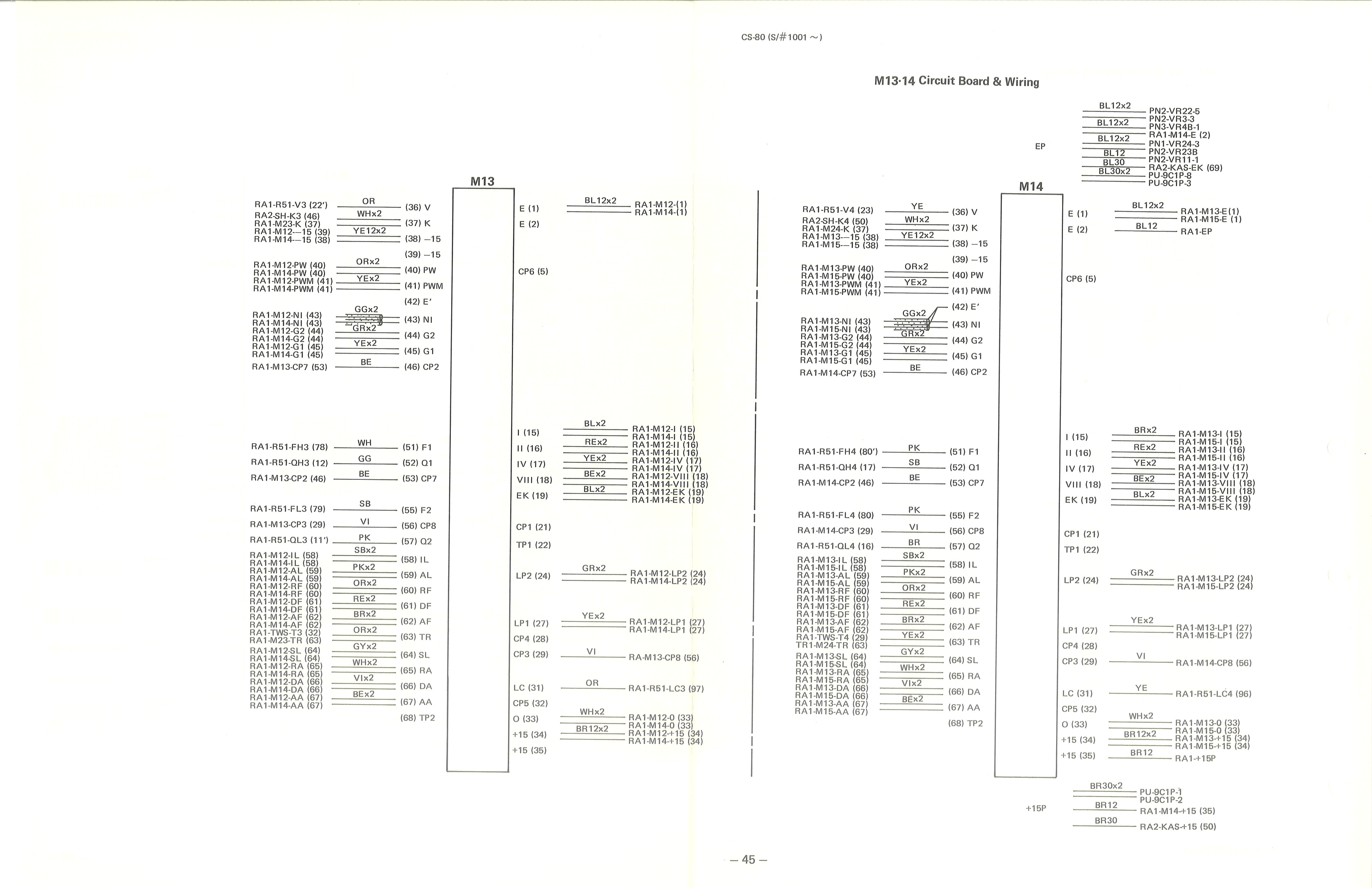 yamaha cs 80 service manual 45 m13 14 circuit board wiring