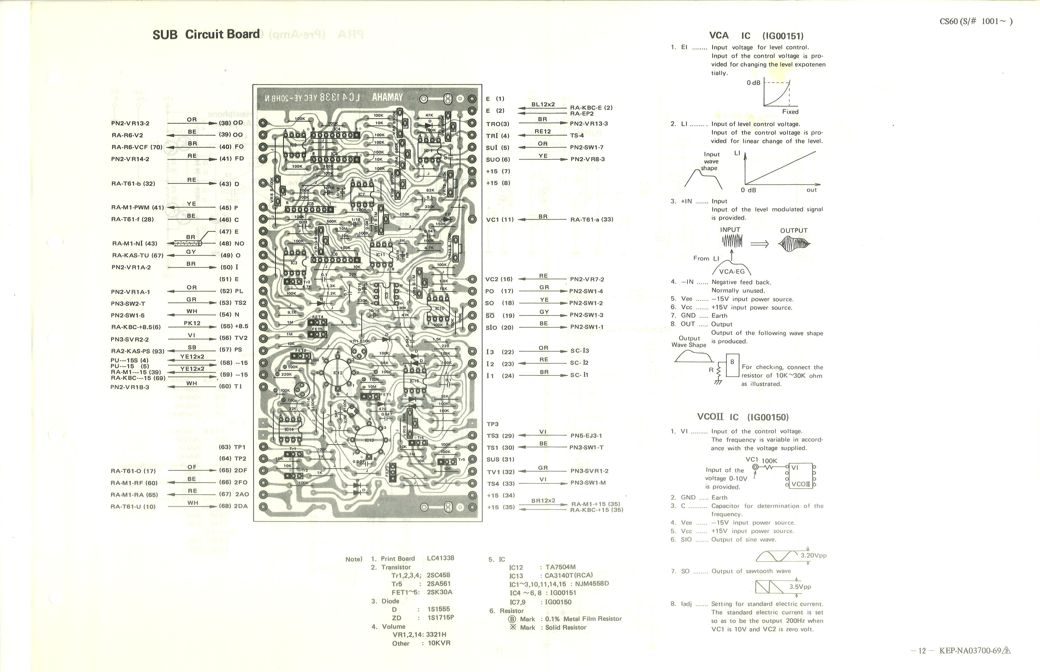 Yamaha Cs 60 Service Manual Sub Board Wiring Diagram 12 Circuit
